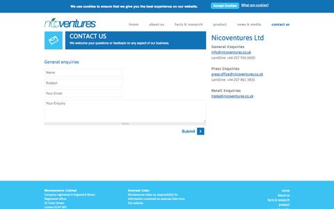 Screenshot of Contact Page nicoventures.co.uk - Nicoventures | Contact Information | Questions, Help, Press Contacts - captured Oct. 26, 2014