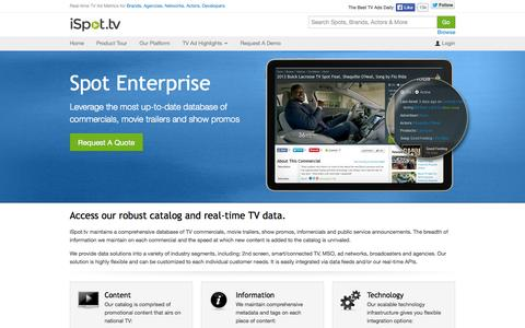 Screenshot of Developers Page ispot.tv - Spot Enterprise: Connect to our API - iSpot.tv - captured Sept. 16, 2014