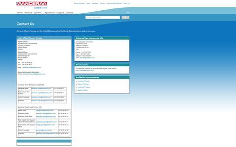 Screenshot of Contact Page aanderaa.no - Contact Us - captured Feb. 5, 2016