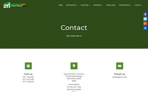 Screenshot of Contact Page egtours.com - Contact – Evergreen Tours - captured Sept. 29, 2018