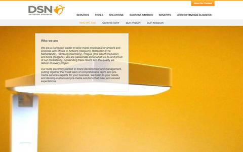 Screenshot of About Page ds-n.com - DSN Design Artwork Prepress The History  / DSN Pre Media - captured Oct. 5, 2014