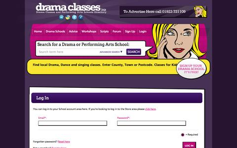 Screenshot of Login Page dramaclasses.biz - Log In | Drama Schools at DramaClasses.biz - captured Oct. 5, 2014