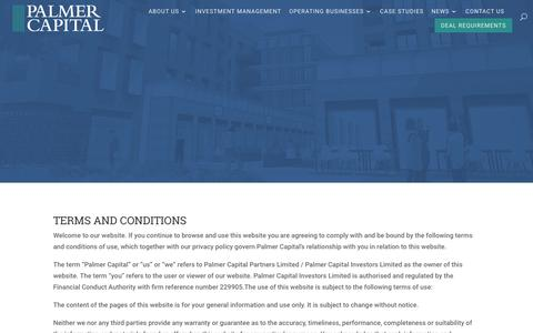 Screenshot of Terms Page palmercapital.co.uk - Terms and Conditions | Palmer Capital - captured Nov. 9, 2018