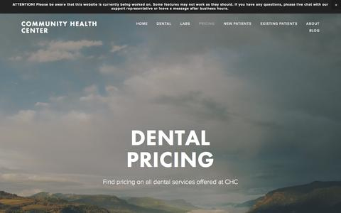 Screenshot of Pricing Page chcaustell.org - Pricing — Community Health Center - captured Nov. 9, 2016