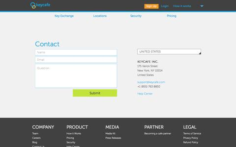 Screenshot of Contact Page Support Page keycafe.com - Keycafe: Key Exchange Simplified - captured Oct. 25, 2014