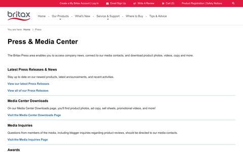 Screenshot of Press Page britax.com - Press & Media Center | Britax USA - captured Nov. 21, 2016
