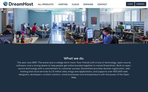 Screenshot of About Page dreamhost.com - DreamHost The Leader in Web Hosting and Cloud Storage Around the World – DreamHost - captured Oct. 28, 2014