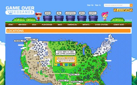 Screenshot of About Page Locations Page gameovervideogames.com - Game Over Videogames | Game Over Videogames - captured April 1, 2017