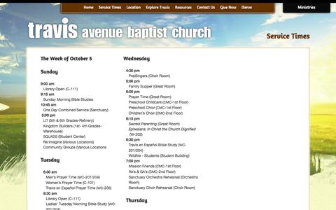 Screenshot of Services Page travis.org - Service Times | Travis Avenue Baptist Church - captured Oct. 7, 2014