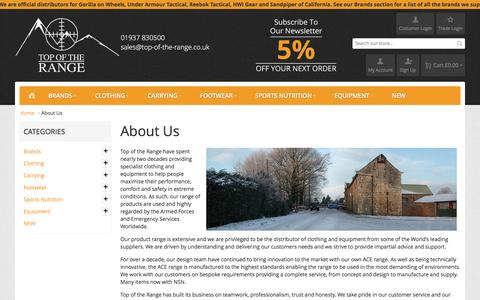Screenshot of About Page top-of-the-range.co.uk - About Us  - Top of the Range - captured Feb. 17, 2016