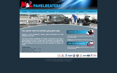 Screenshot of Home Page mlpanelbeaters.co.za - M&L Panelbeaters - captured Sept. 30, 2014
