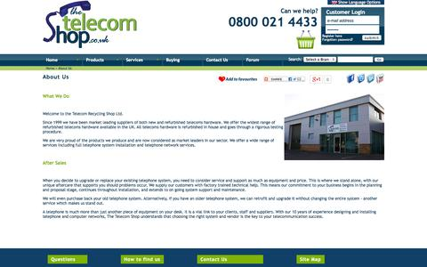 Screenshot of About Page thetelecomshop.co.uk - About Us | Telephone Systems, Phone Systems, Telephone Handsets, Telephone Headsets, BT Telephones, CCTV, Avaya - captured Sept. 19, 2014