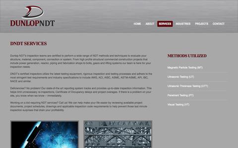 Screenshot of Services Page dunlopndt.com - DNDT Services - captured Oct. 29, 2014