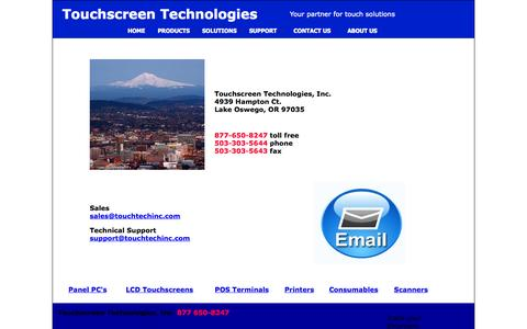 Screenshot of Contact Page touchscreentechnologies.net - Contact - captured Oct. 7, 2014