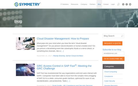 Screenshot of Blog symmetrycorp.com - Symmetry Blog | Industry Insight and SAP Expertise - captured Nov. 15, 2017