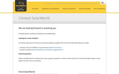 Screenshot of Contact Page solarworld-usa.com - Contact SolarWorld - captured Sept. 24, 2014