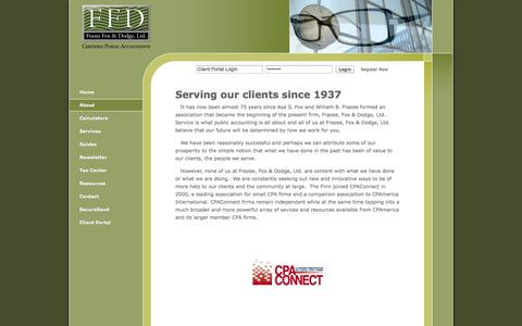 Screenshot of About Page ffdcpa.com - Little Rock, AR Accounting Firm   About Page   Frazee, Fox & Dodge, Ltd. - captured Oct. 6, 2014