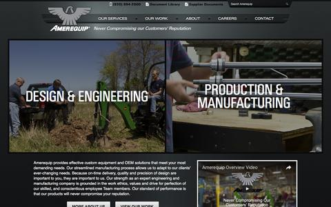 Screenshot of Home Page Menu Page amerequip.com - Design, Engineering and Manufacturing Solutions for OEMs, and Custom Equipment, Tractor Attachments and Backhoes - Amerequip (ARPS) - captured Nov. 20, 2016