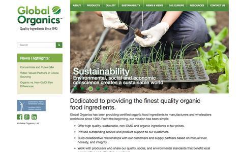 Screenshot of Home Page global-organics.com - Global Organics - Certified Organic Food Ingredients - Non-GMO Ingredients - captured Jan. 29, 2016