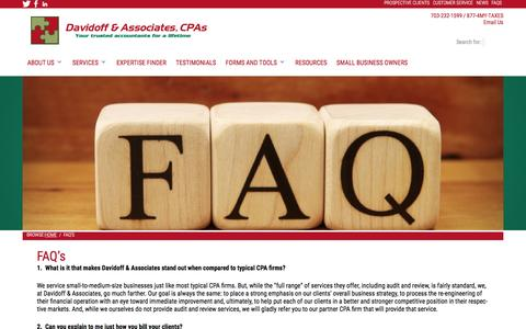 Screenshot of FAQ Page davidoffcpa.com - do i need a cpa to do my taxes - captured Feb. 8, 2016