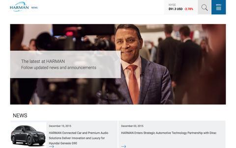 Screenshot of Press Page harman.com - NEWS | Harman - captured Dec. 17, 2015