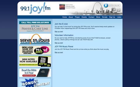 Screenshot of Signup Page joyfmonline.org - 99.1 JOY FM - St. Louis Christian music - captured Sept. 23, 2014