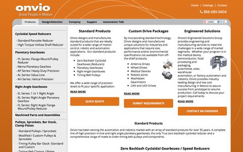 Screenshot of Products Page onviollc.com - Zero Backlash Cycloidal Gearboxes, Planetary Gearboxes, Right Angle, Timing Belt Pulleys - captured Sept. 20, 2018