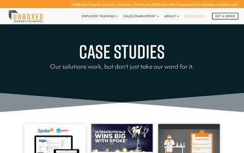 Screenshot of Case Studies Page unboxedtechnology.com - Case Studies - Unboxed Technology - captured Nov. 7, 2018