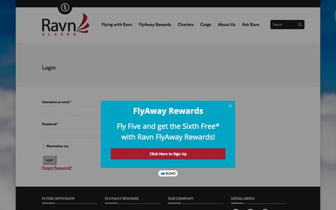 Screenshot of Login Page flyravn.com - Login - Ravn Alaska - captured Sept. 24, 2018