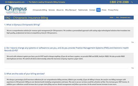Screenshot of FAQ Page olympuschiro.com - Chiropractic Billing Services | Chiropractic Insurance Billing | Chiro Billing Group - captured June 17, 2016