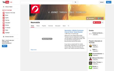 Screenshot of YouTube Page youtube.com - Neomobile  - YouTube - captured Oct. 28, 2014