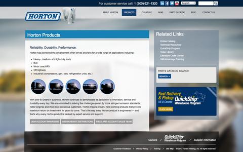 Screenshot of Products Page hortonww.com - Horton Products | Horton Engine Cooling Solutions - captured Oct. 3, 2014