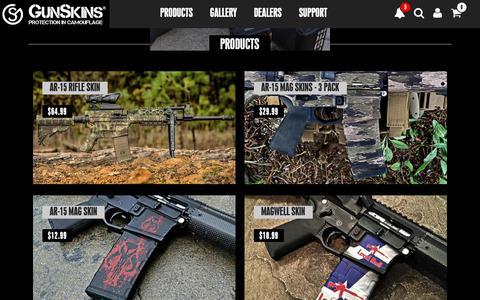 Screenshot of Products Page gunskins.com - GunSkins Vinyl Wraps, Magazines, Tools, Apparel, & More - captured Nov. 5, 2018