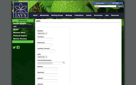 Screenshot of Signup Page iavs.org - IAVS - Join - captured July 20, 2016