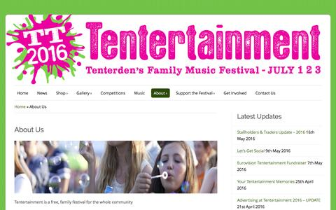 Screenshot of About Page tentertainment.co.uk - About Us – Tentertainment - captured June 9, 2016