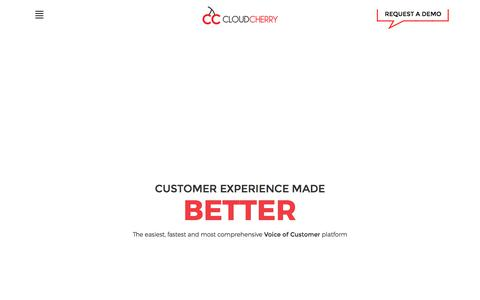 Screenshot of Home Page getcloudcherry.com - Customer Experience Management Software | CloudCherry - captured Nov. 18, 2017