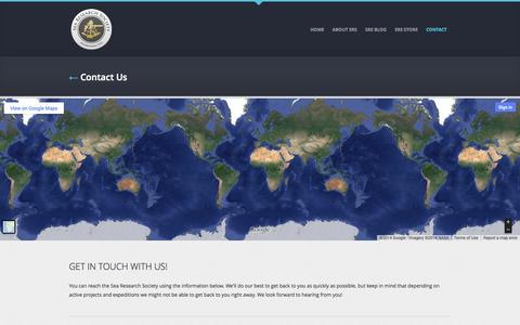 Screenshot of Contact Page exploresrs.org - Contact    Sea Research Society - captured Nov. 4, 2014