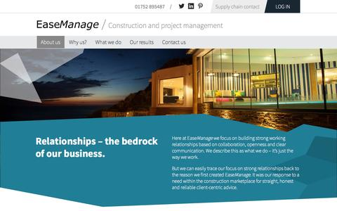 Screenshot of About Page easemanage.com - About us | EaseManage, we're expert construction managers - captured Sept. 29, 2014