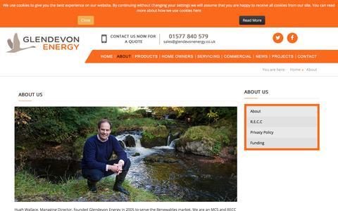 Screenshot of About Page glendevonenergy.co.uk - Glendevonenergy - About - captured July 18, 2018