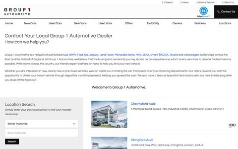 Screenshot of Contact Page Locations Page essex-audi.co.uk - Find Your Nearest Dealership | Group 1 Automotive - captured Jan. 14, 2019