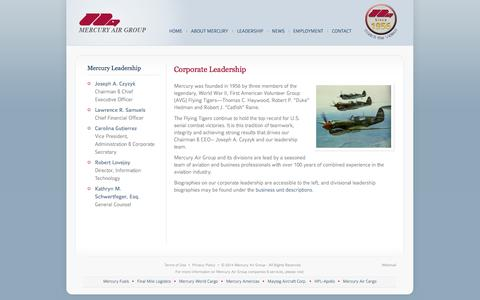 Screenshot of Team Page mercuryairgroup.com - Mercury Air Group - captured Oct. 4, 2014
