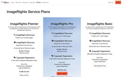 Screenshot of Pricing Page imagerights.com - ImageRights Pricing - captured Oct. 29, 2014