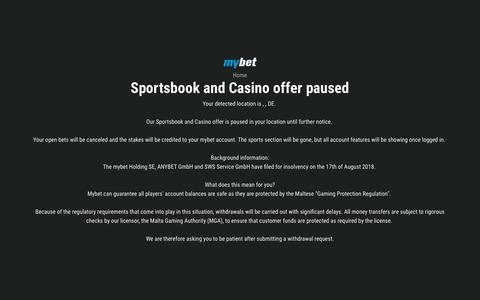 Screenshot of Home Page mybet.com - mybet is in Maintenance - captured Feb. 1, 2019