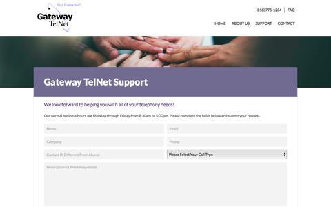 Screenshot of Support Page gatewaytelnet.com - Gateway TelNet Support - captured July 16, 2018