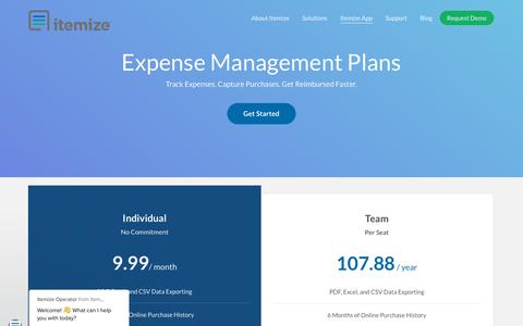 Screenshot of Pricing Page itemize.com - Itemize Operator says… - captured Nov. 14, 2018