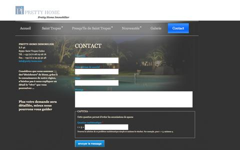 Screenshot of Contact Page pretty-home.com - Contact   Pretty Home Immobilier - captured Oct. 3, 2014