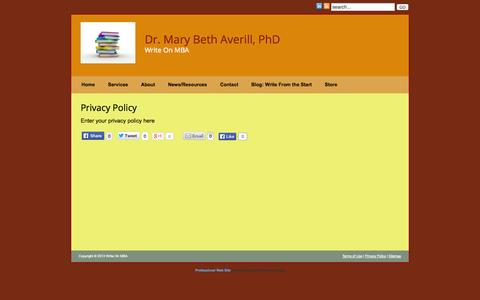 Screenshot of Privacy Page writeonmba.com - Privacy Policy » Write On MBA - captured Oct. 4, 2014