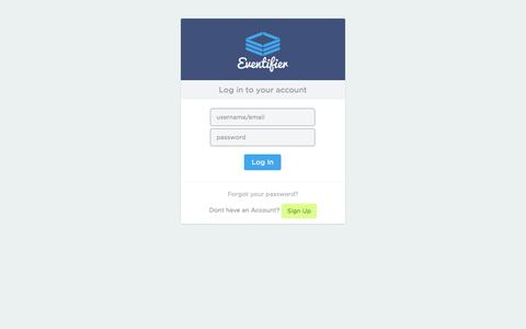 Screenshot of Login Page eventifier.com - Eventifier - Showcase And Embed Social Media Feeds For Events And Brands - captured Sept. 16, 2014