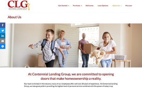 Screenshot of About Page clghomeloans.com - Centennial Lending Group • Mortgage Solutions that Open Doors - captured July 15, 2019