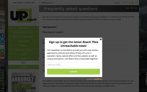 Screenshot of FAQ Page upequip.ca - FAQ's |  UP EQUIP - captured Feb. 4, 2016